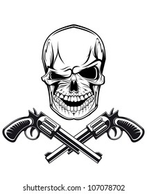 Smiling skull with revolvers for tattoo design. Jpeg version also available in gallery