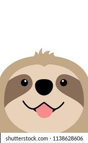Smiling sloth face flat design, vector illustration