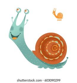 Smiling snail. Vector illustration.