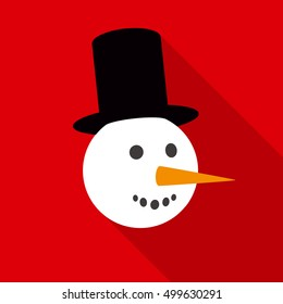 Smiling Snowman Face in Flat Style with Long Shadows on a Red Background
