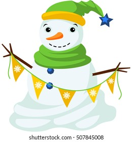 Smiling snowman in hat and scarf. Snowman holding garland with tags. Vector.