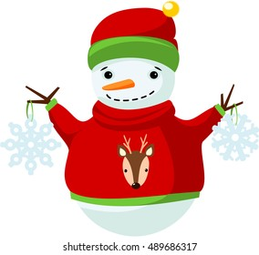 Smiling snowman in warm sweater and hat holding snowflake. Vector.