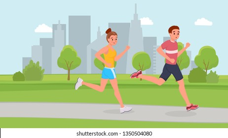 Smiling sports couple running in park flat style vector illustration