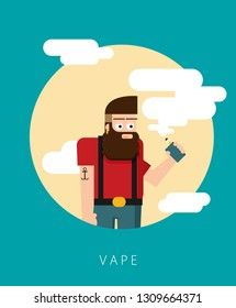 Smiling standing bearded hipster man holding vape or vaporizer and vaping with steam cloud around