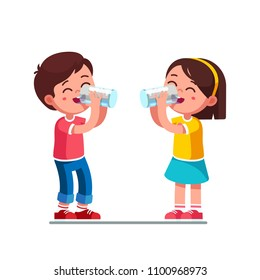 Smiling standing preschool boy and girl kids enjoying drinking water holding glasses. Happy, kids drinking water hydrating. Children cartoon characters. Quench thirst. Flat style vector illustration