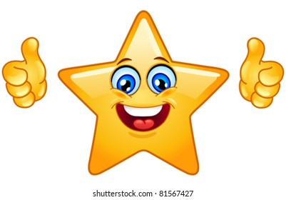 Smiling star showing thumbs up