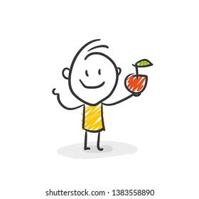 Smiling Stick Figure With Apple In His Hand Vector