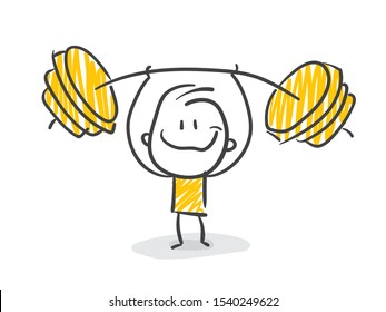 Smiling Stickman Doing Weight lifting
