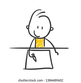 Smiling Stickman Is Drawing Something On Paper Vector