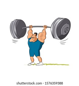 Smiling strong man lifting barbell up. weightlifter holding heavy weight , success, overcoming challenge concept. Flat line vector