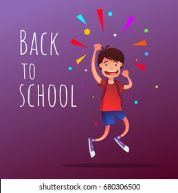 Smiling student boy with backpacks jumping up with raised hand gesture. Happy boy for first day of school. Flat vector illustration isolated on violet background. Full editable for animation.