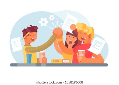 Smiling successful students after passing exam vector illustration. Cartoon friends drinking coffee and giving five to each other flat style design. Teamwork concept