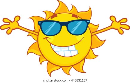 Smiling Summer Sun Cartoon Mascot Character With Sunglasses And Open Arms For Hugging. Vector Illustration Isolated On White Background