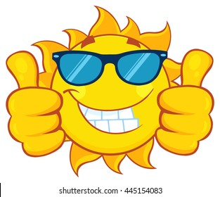 Smiling Sun Cartoon Mascot Character With Sunglasses Giving A Double Thumbs Up. Vector Illustration Isolated On White Background