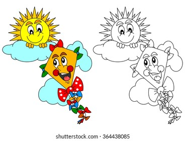 Smiling sun, cloud and kite as a coloring page for kids - vector