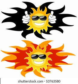 Smiling sun with glasses: tatoo. Vector illustration