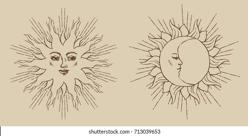 Smiling sun and sleeping moon. Vector hand drawn illustration in medieval style.