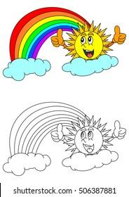 Smiling sun with thumbs-up sign, rainbow, clouds and a coloring book for young children - vector