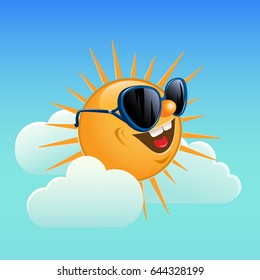 Smiling sun wearing sunglasses among the clouds.