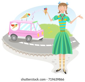 Smiling teenage girl holding ice cream cone; ice cream van on street in background (flat color illustration)