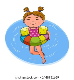 Smiling teenage girl relax on floating inner swimming tube, wears baby toddler float ring arm sleeves vest safety swimming accessories. Colored cartoon vector illustration isolated on white background