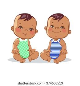 Smiling toddler boy and girl sitting. Portrait of happy smiling kids. Hispanic children. Colorful vector illustration on white background