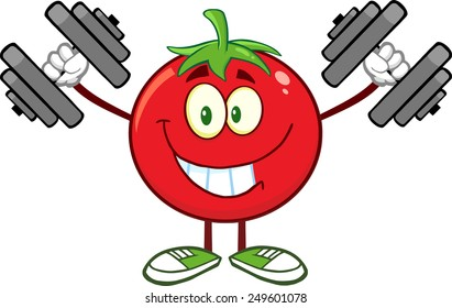 Smiling Tomato Cartoon Mascot Character Training With Dumbbells. Vector Illustration Isolated On White