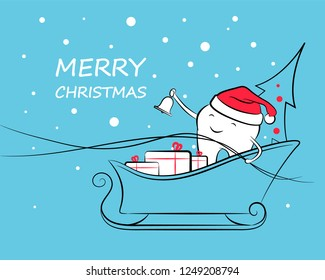 A smiling tooth with a bell in his hand and a Santa Claus hat rushing on a sleigh with gifts and a Christmas tree. Holiday greeting design element. Happy New Year and Merry Christmas.