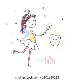 Smiling tooth fairy. Cute little happy fairy girl with tooth. Hand drawn vector cartoon doodle illustration