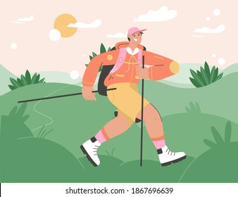 Smiling tourist with sticks and backpack hiking in nature landscape. Man wearing travel clothes and equipment walking in green hills. Summer adventure, camping leisure. Vector character illustration