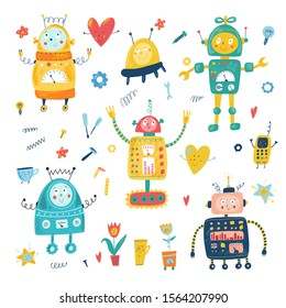Smiling toy robots in cartoon flat style. Isolated hand drawn vector robot, tools, UFO, star, heart, flower, light bulb, cup, tools. Kids background. Character for boys. Еransformer, android, cyborg.