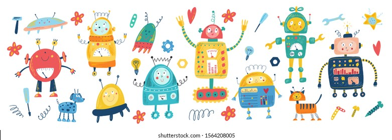Smiling toy robots in cartoon flat style. Isolated hand drawn vector robot, tools, UFO, star, heart, flower, light bulb, tools. Kids background. Character for boys. Children transformer, android.