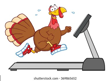 Smiling Turkey Cartoon Character Running On A Treadmill. Vector Illustration Isolated On White