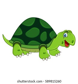 Smiling Turtle Cartoon Vector Illustration