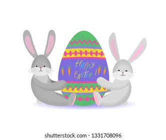 Smiling two rabbits hold an Easter colored Egg. Vector flat isolated illustration with texture. Cartoon stylized cute rabbit characters for the feast of Easter. For postcard, banner, poster, etc
