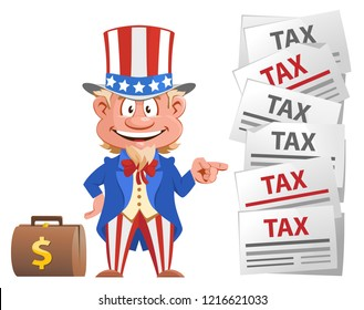 Smiling Uncle Sam points at the tax letters. Cartoon styled vector illustration. On white background.