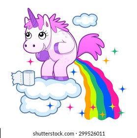 Smiling unicorn pooping a rainbow on the sky.