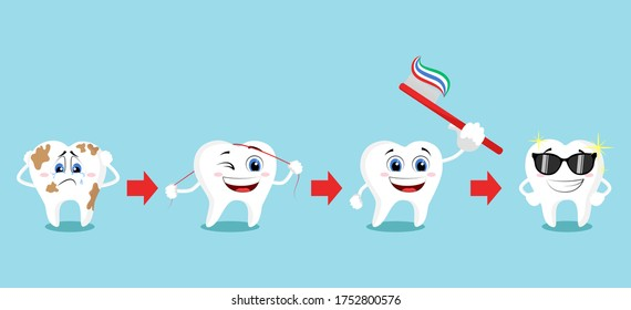 Smiling and upset animated cartoon teeth characters. Healthy white teeth and tooth with dental plaque socializing. Oral hygiene, teeth cleaning. Teeth poster.
