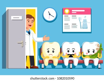 Smiling and upset cartoon teeth characters sitting in line at dental clinic office waiting room. Cheerful dentist inviting next patient. Dental clinic and dentistry concept. Flat vector illustration