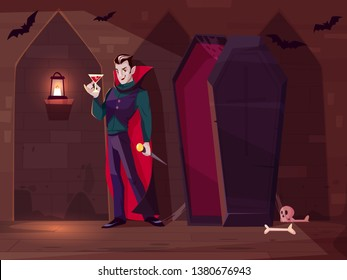 Smiling vampire, count Dracula standing with glass of blood near opened coffin in dark dungeon of medieval castle cartoon vector concept. Fantasy monster character, halloween costume illustration