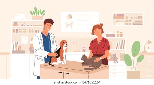 Smiling veterinarian examining dog and cat. Vet doctor curing cute pets. Veterinary clinic, healthcare service or medical center for domestic animals. Flat cartoon colorful vector illustration.