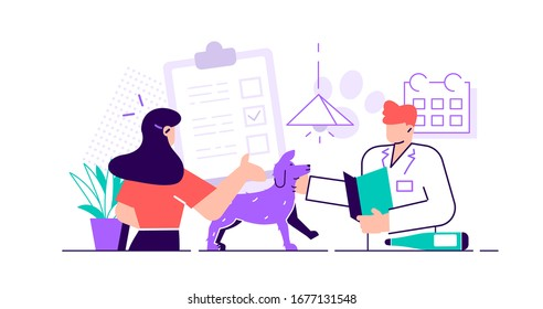Smiling veterinarian examining dog  Vet doctor curing cute pets. Veterinary clinic, healthcare service or medical center for domestic animals. Flat style cartoon colorful vector illustration