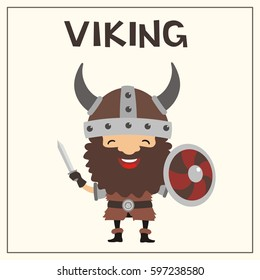 Smiling viking with sword and shield.