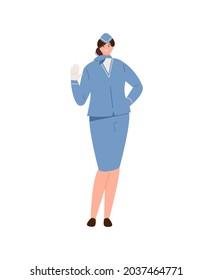 Smiling waving girl stewardess in uniform. Flight profession vector illustration