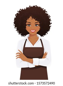 Smiling woman in apron standing with arms crossed isolated vector illustration