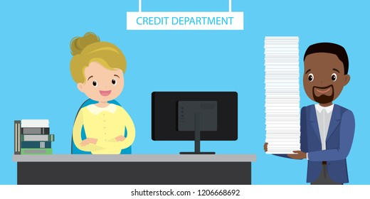 Smiling woman bank worker in the credit department and man with big stack of loan approval papers,flat vector illustration
