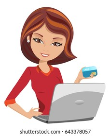 Smiling Woman buys on line paying with credit card isolated