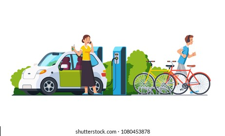 Smiling woman charging electric car at recharging power station charger. Sporty man jogging. Bikes standing on bicycle parking. Modern technology environment care concept. Flat vector illustration