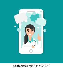Smiling woman doctor on the phone screen. Medical internet consultation.  Healthcare consulting web service.  Hospital support online. Mobile doctor, call, ask concept Vector flat illustration on blue