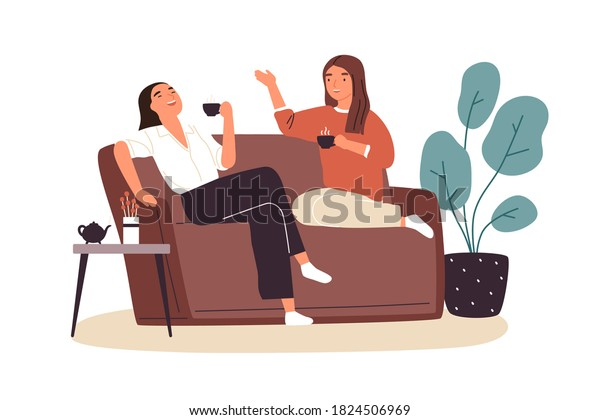Smiling woman friends drinking tea at home vector flat illustration. Happy female laughing and gossiping sit on comfortable couch isolated. People spending time together having friendly conversation